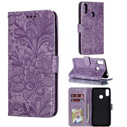 Intricate Embossing Lace Jasmine Flower Leather Wallet Case for Asus Zenfone Max Pro (M2) ZB631KL - Purple