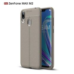 Luxury Auto Focus Litchi Texture Silicone TPU Back Cover for Asus Zenfone Max (M2) ZB633KL - Gray
