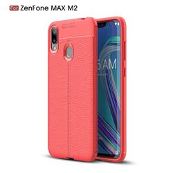 Luxury Auto Focus Litchi Texture Silicone TPU Back Cover for Asus Zenfone Max (M2) ZB633KL - Red