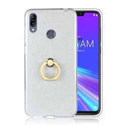 Luxury Soft TPU Glitter Back Ring Cover with 360 Rotate Finger Holder Buckle for Asus Zenfone Max (M2) ZB633KL - White