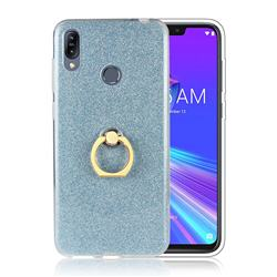 Luxury Soft TPU Glitter Back Ring Cover with 360 Rotate Finger Holder Buckle for Asus Zenfone Max (M2) ZB633KL - Blue