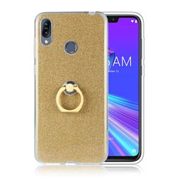 Luxury Soft TPU Glitter Back Ring Cover with 360 Rotate Finger Holder Buckle for Asus Zenfone Max (M2) ZB633KL - Golden