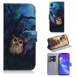 Oil Painting Owl PU Leather Wallet Case for Asus Zenfone Max (M2) ZB633KL