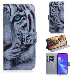 White Tiger PU Leather Wallet Case for Asus Zenfone Max (M2) ZB633KL