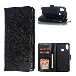 Intricate Embossing Datura Solar Leather Wallet Case for Asus Zenfone Max (M2) ZB633KL - Black
