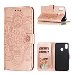 Intricate Embossing Datura Solar Leather Wallet Case for Asus Zenfone Max (M2) ZB633KL - Rose Gold