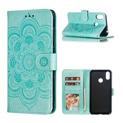 Intricate Embossing Datura Solar Leather Wallet Case for Asus Zenfone Max (M2) ZB633KL - Green