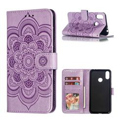 Intricate Embossing Datura Solar Leather Wallet Case for Asus Zenfone Max (M2) ZB633KL - Purple