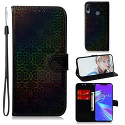 Laser Circle Shining Leather Wallet Phone Case for Asus Zenfone Max (M2) ZB633KL - Black