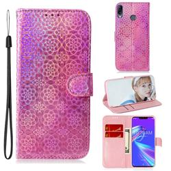 Laser Circle Shining Leather Wallet Phone Case for Asus Zenfone Max (M2) ZB633KL - Pink