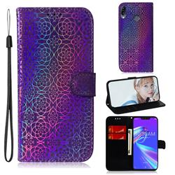 Laser Circle Shining Leather Wallet Phone Case for Asus Zenfone Max (M2) ZB633KL - Purple
