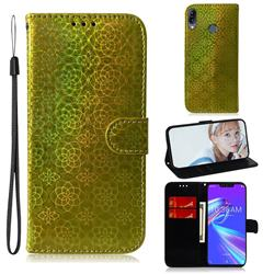 Laser Circle Shining Leather Wallet Phone Case for Asus Zenfone Max (M2) ZB633KL - Golden