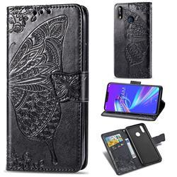 Embossing Mandala Flower Butterfly Leather Wallet Case for Asus Zenfone Max (M2) ZB633KL - Black