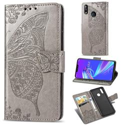 Embossing Mandala Flower Butterfly Leather Wallet Case for Asus Zenfone Max (M2) ZB633KL - Gray