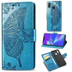 Embossing Mandala Flower Butterfly Leather Wallet Case for Asus Zenfone Max (M2) ZB633KL - Blue