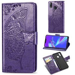 Embossing Mandala Flower Butterfly Leather Wallet Case for Asus Zenfone Max (M2) ZB633KL - Dark Purple