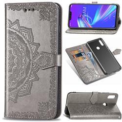 Embossing Imprint Mandala Flower Leather Wallet Case for Asus Zenfone Max (M2) ZB633KL - Gray