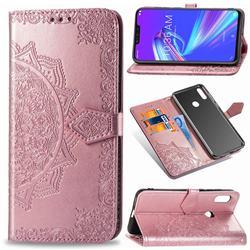 Embossing Imprint Mandala Flower Leather Wallet Case for Asus Zenfone Max (M2) ZB633KL - Rose Gold