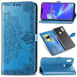Embossing Imprint Mandala Flower Leather Wallet Case for Asus Zenfone Max (M2) ZB633KL - Blue