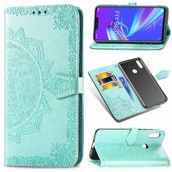 Embossing Imprint Mandala Flower Leather Wallet Case for Asus Zenfone Max (M2) ZB633KL - Green