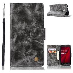 Luxury Retro Leather Wallet Case for Asus Zenfone Go ZC500TG - Gray