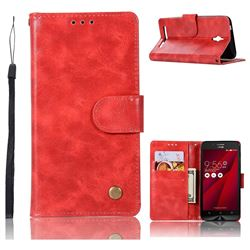 Luxury Retro Leather Wallet Case for Asus Zenfone Go ZC500TG - Red