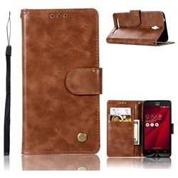 Luxury Retro Leather Wallet Case for Asus Zenfone Go ZC500TG - Brown