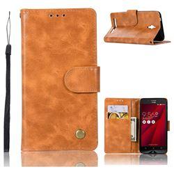 Luxury Retro Leather Wallet Case for Asus Zenfone Go ZC500TG - Golden