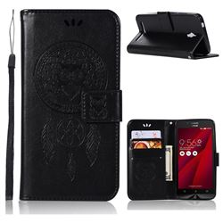 Intricate Embossing Owl Campanula Leather Wallet Case for Asus Zenfone Go ZC500TG - Black