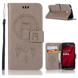 Intricate Embossing Owl Campanula Leather Wallet Case for Asus Zenfone Go ZC500TG - Grey