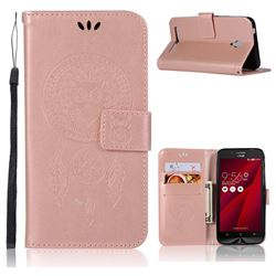 Intricate Embossing Owl Campanula Leather Wallet Case for Asus Zenfone Go ZC500TG - Rose Gold