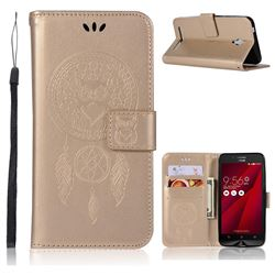 Intricate Embossing Owl Campanula Leather Wallet Case for Asus Zenfone Go ZC500TG - Champagne