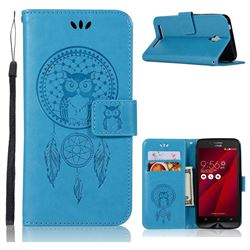 Intricate Embossing Owl Campanula Leather Wallet Case for Asus Zenfone Go ZC500TG - Blue
