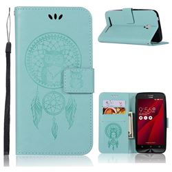 Intricate Embossing Owl Campanula Leather Wallet Case for Asus Zenfone Go ZC500TG - Green
