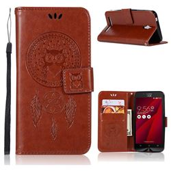 Intricate Embossing Owl Campanula Leather Wallet Case for Asus Zenfone Go ZC500TG - Brown