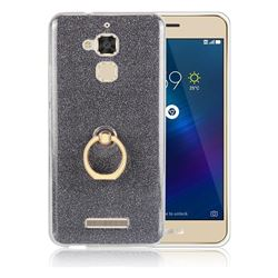 Luxury Soft TPU Glitter Back Ring Cover with 360 Rotate Finger Holder Buckle for Asus Zenfone 3 Max ZC520TL - Black