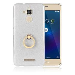 Luxury Soft TPU Glitter Back Ring Cover with 360 Rotate Finger Holder Buckle for Asus Zenfone 3 Max ZC520TL - White