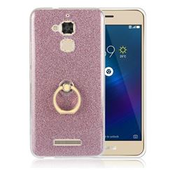 Luxury Soft TPU Glitter Back Ring Cover with 360 Rotate Finger Holder Buckle for Asus Zenfone 3 Max ZC520TL - Pink