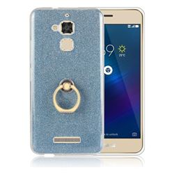Luxury Soft TPU Glitter Back Ring Cover with 360 Rotate Finger Holder Buckle for Asus Zenfone 3 Max ZC520TL - Blue