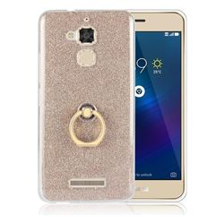 Luxury Soft TPU Glitter Back Ring Cover with 360 Rotate Finger Holder Buckle for Asus Zenfone 3 Max ZC520TL - Golden