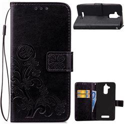 Embossing Imprint Four-Leaf Clover Leather Wallet Case for Asus Zenfone 3 Max ZC520TL - Black