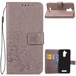 Embossing Imprint Four-Leaf Clover Leather Wallet Case for Asus Zenfone 3 Max ZC520TL - Grey