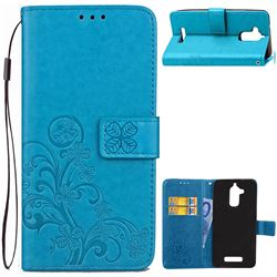 Embossing Imprint Four-Leaf Clover Leather Wallet Case for Asus Zenfone 3 Max ZC520TL - Blue