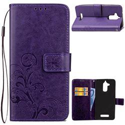 Embossing Imprint Four-Leaf Clover Leather Wallet Case for Asus Zenfone 3 Max ZC520TL - Purple