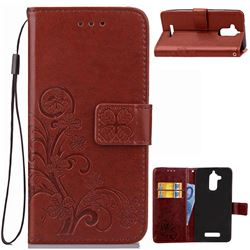 Embossing Imprint Four-Leaf Clover Leather Wallet Case for Asus Zenfone 3 Max ZC520TL - Brown