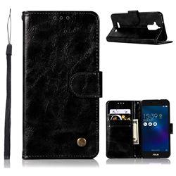 Luxury Retro Leather Wallet Case for Asus Zenfone 3 Max ZC520TL - Black