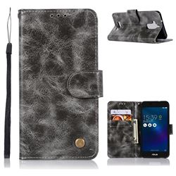 Luxury Retro Leather Wallet Case for Asus Zenfone 3 Max ZC520TL - Gray