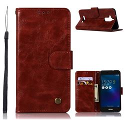 Luxury Retro Leather Wallet Case for Asus Zenfone 3 Max ZC520TL - Wine Red