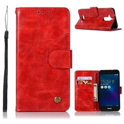 Luxury Retro Leather Wallet Case for Asus Zenfone 3 Max ZC520TL - Red