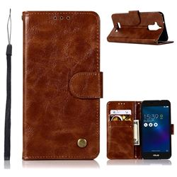 Luxury Retro Leather Wallet Case for Asus Zenfone 3 Max ZC520TL - Brown